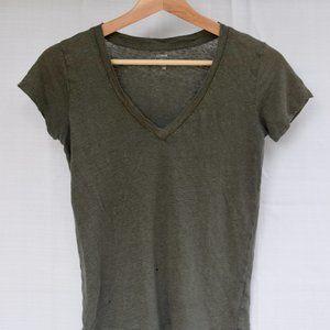 J. Crew green linen v-neck t-shirt